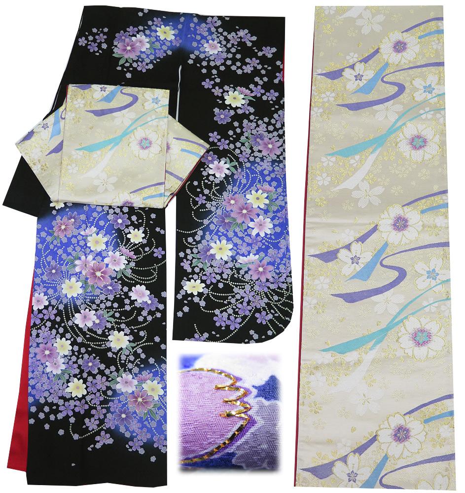 ■3点セット 【中古】 正絹 振袖 ・ 袋帯 ・ 長襦袢