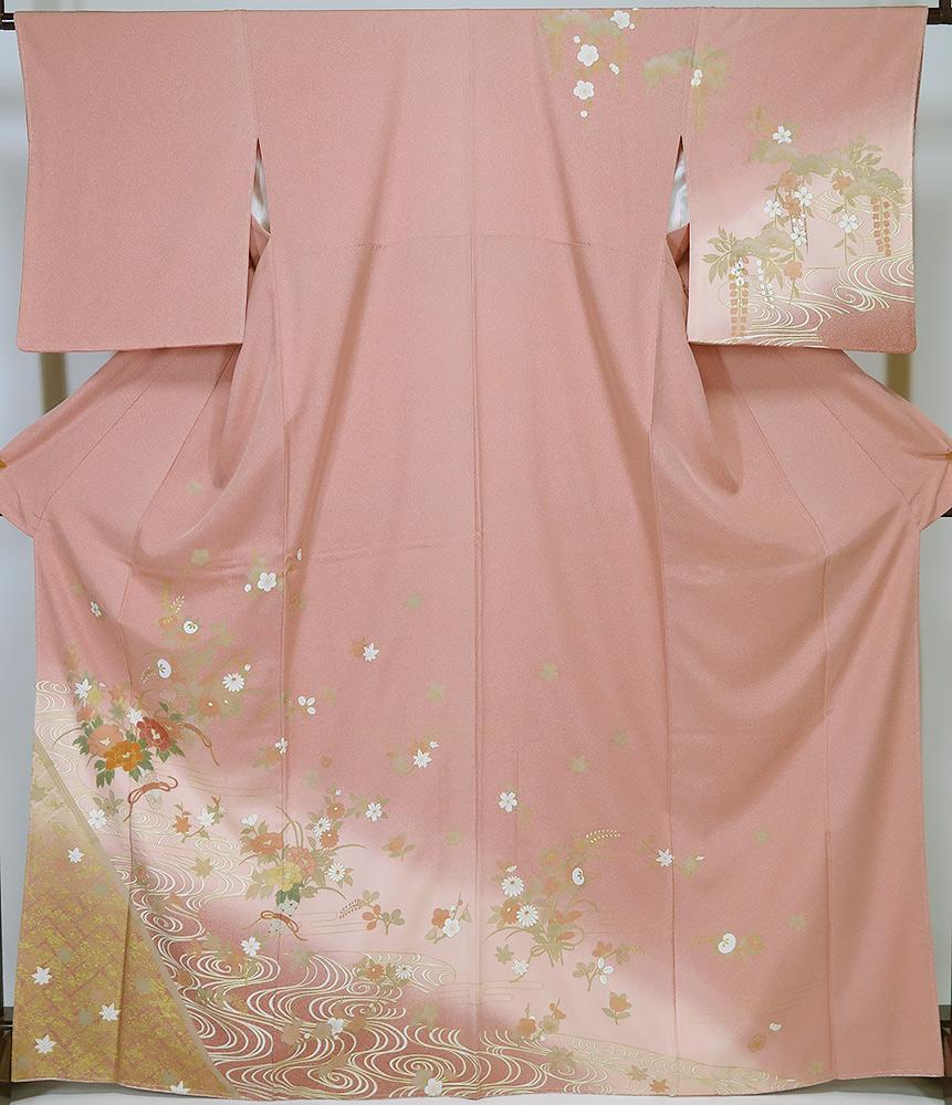 【中古】 美品 若向き 訪問着 ピンク系