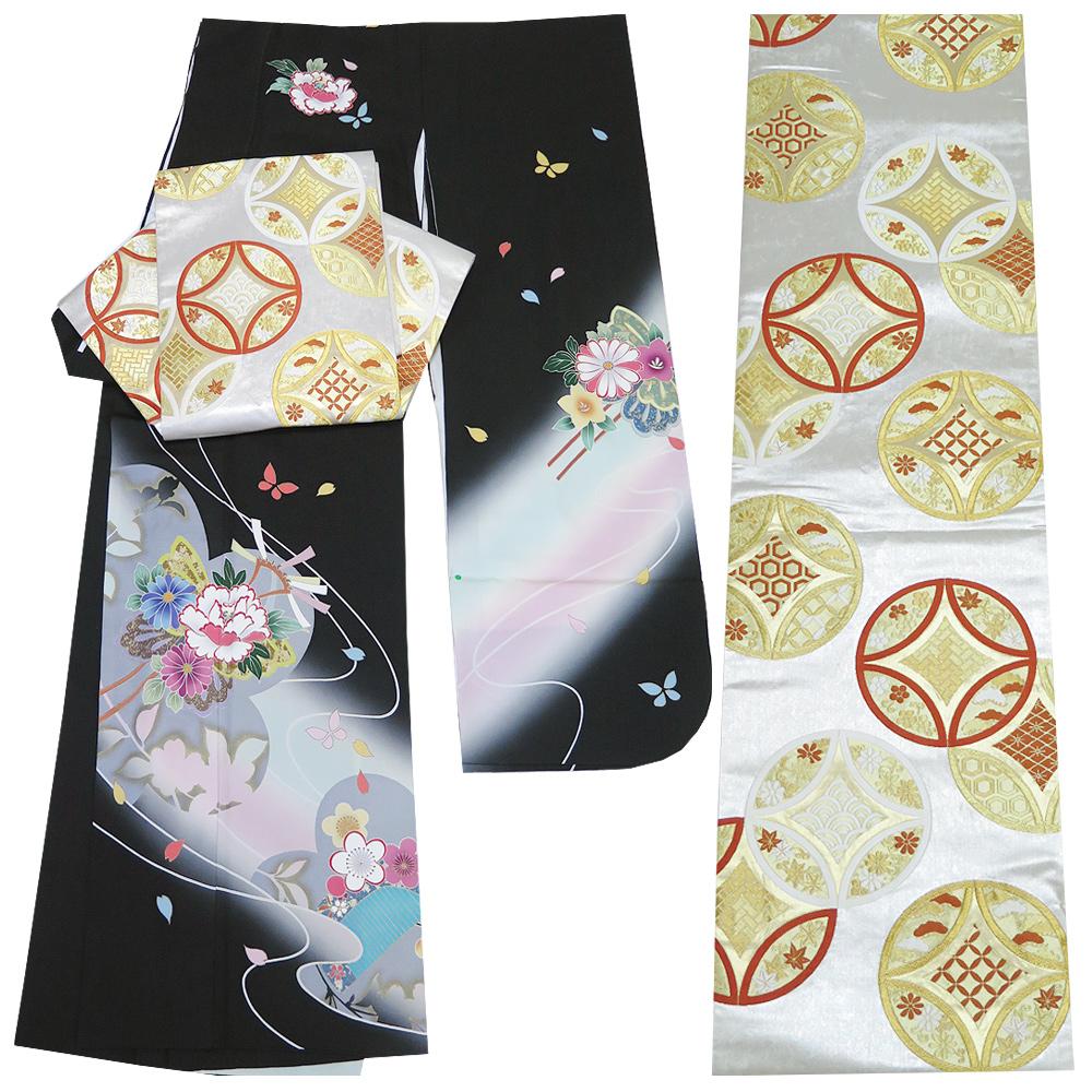 ■2点セット 【中古】 京友禅 振袖 箔加工 袋帯