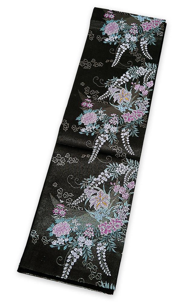 ■セール品通常価格¥25000(税別)新品 お仕立上 夏用 絽紗 六通柄 袋帯 黒地に花柄