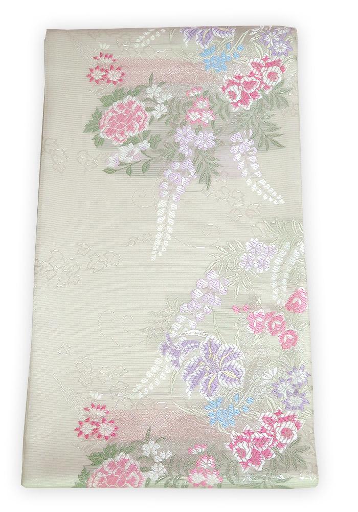 ■新品 お仕立上 夏用 絽紗 六通柄 袋帯 花柄/白系