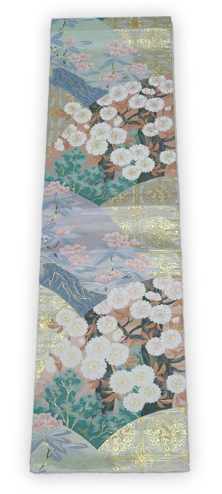 【中古】美品 じゅらく 謹製 六通柄 袋帯 桜花文様/薄橙・藤色など