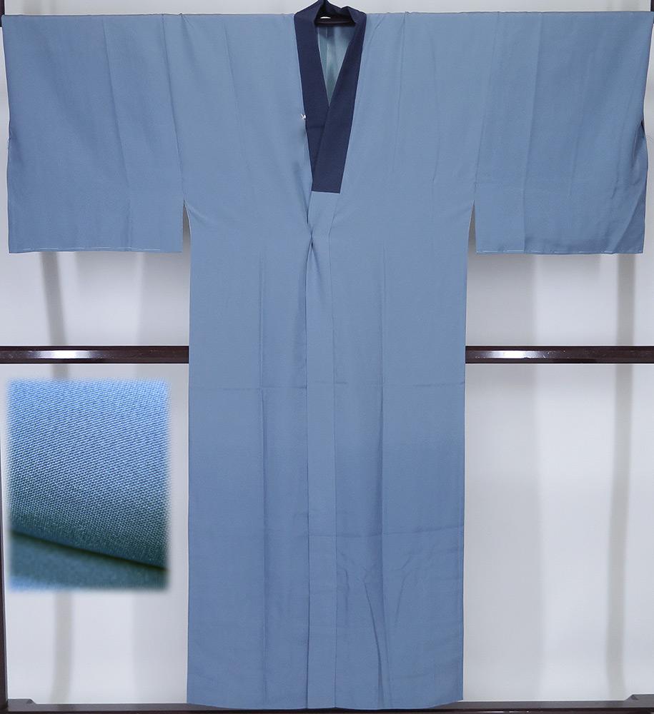 裄73cm 【中古】美品 紳士用 正絹 長襦袢 袷仕立て 半衿濃紺