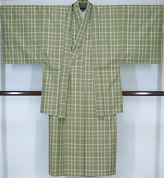 対応身長165cm前後誂え流れ 未使用品紳士 紬アンサンブル灰緑系