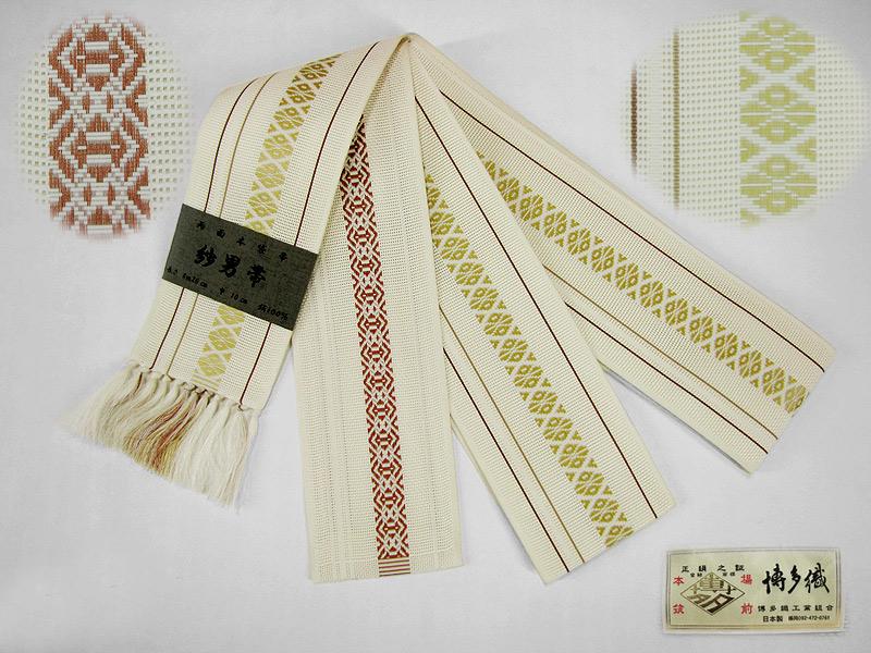 【送料無料】紳士用 夏帯本場筑前博多織紗 両面本袋帯