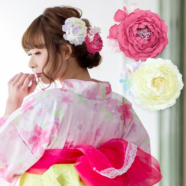 发饰 花朵发饰 浴衣、和服、振袖、裤裙、袴用配件!日本花卉装饰发型 便宜 987日元原创花卉发饰 全6种 夹子型