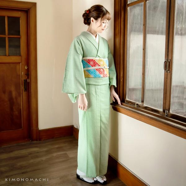 Cotton kimono and kyohukuro obi belt kimono 2 items set code03<R>