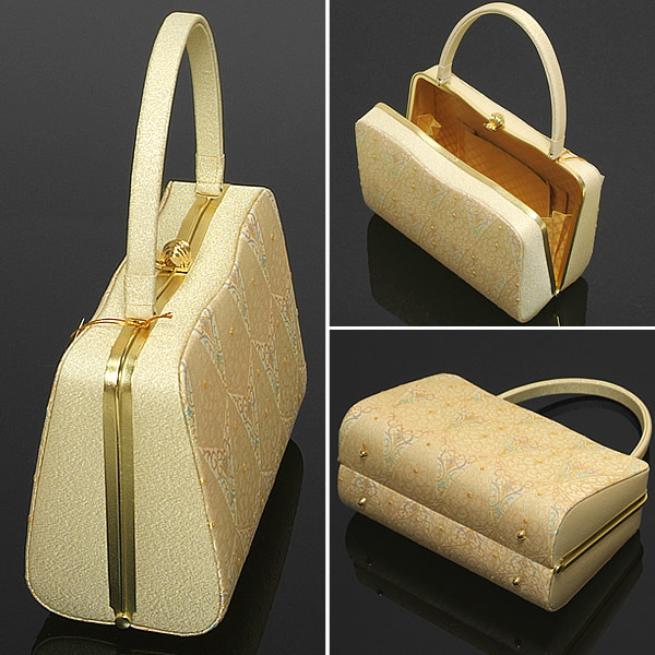 """凉鞋学校谦卑地作出""""白色和金色花纹""""打扮得漂漂亮亮的日出石 L 大小 (大小) 旧凉鞋袋正式 tomesode houmongi"""