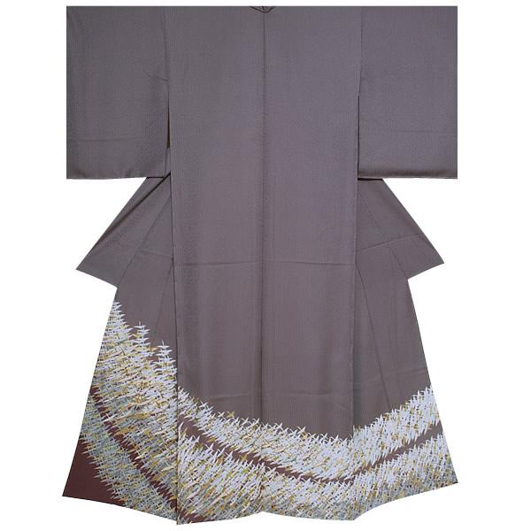色留袖 未仕立て 単品 正絹着物「源氏鼠色 翔鶴」紋意匠丹後ちりめん 正絹着物 正絹色留袖<T>【メール便不可】