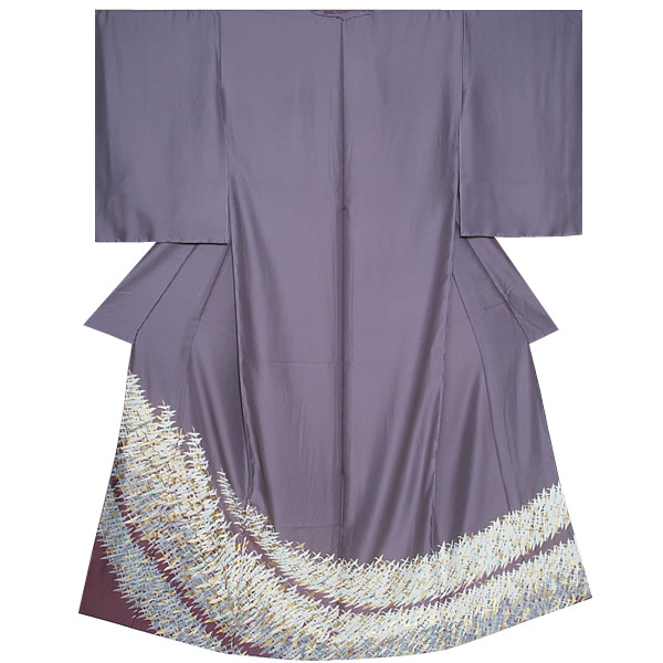 "Colored formal kimono non-one piece of article pure silk fabrics kimono ""thin slate color I run crane"" crest design Tango crape pure silk fabrics kimono pure silk fabrics colored formal kimono <T made by>"