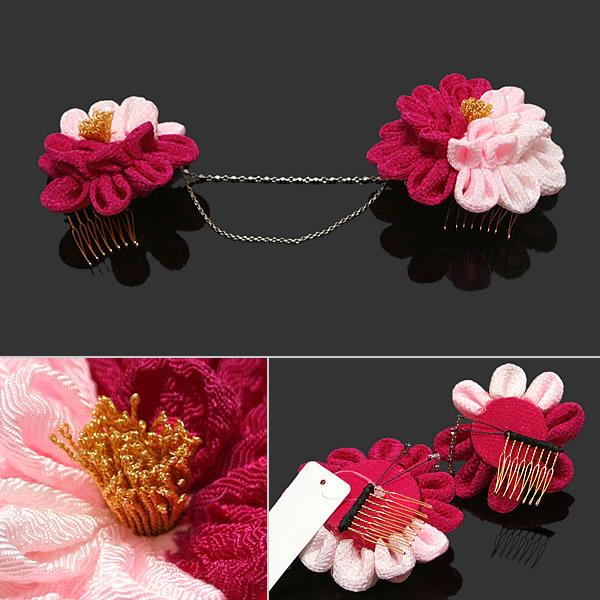 髪飾り 成人式 卒業式 振袖 お花髪飾り 赤紫×ピンクのつまみのお花、シルバーチェーン 前撮り 成人式結婚式XN 1hxQdtsrBC