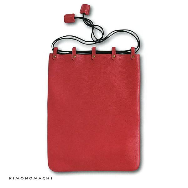 牛革製の合切袋 「レッド」信玄袋 和装小物 千代田袋 (LB-105)<R>【メール便不可】