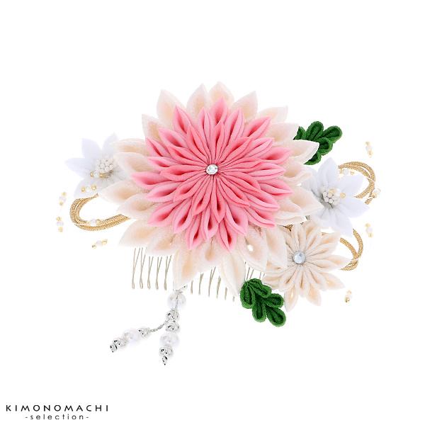 つまみ細工 髪飾り「白、ピンク 剣つまみ」つまみ細工髪飾り 結婚式 成人式 ブライダル 【メール便不可】