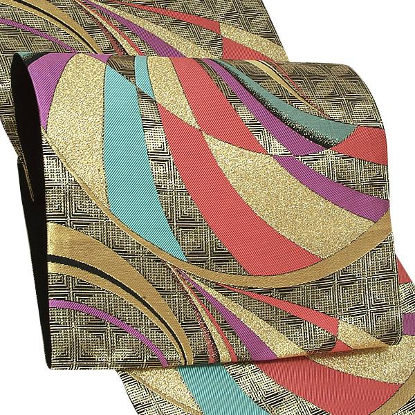 振袖 袋帯 未仕立て「黒×ゴールド 七宝繋ぎ、ライン」樹謹製 西陣織 日本製 フォーマル <T>【メール便不可】