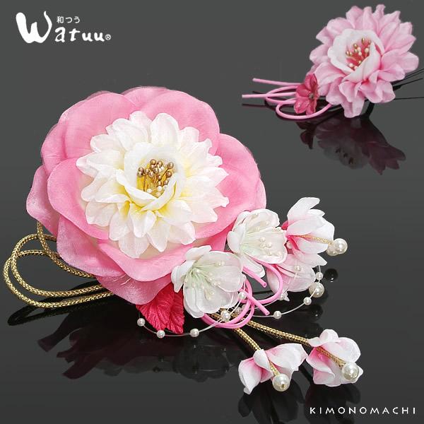 振袖 髪飾り2点セット「ピンク×白色のお花 ホースリボン、組紐、ビーズ飾り」Watuu(和つう) 成人式 前撮り 結婚式 (No.292)<H>【メール便不可】 05P05Nov16