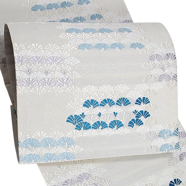 礼装 袋帯 未仕立て「梨地織 白鼠色 松葉扇」創喜庵謹製 西陣織 日本製 フォーマル <T>【メール便不可】