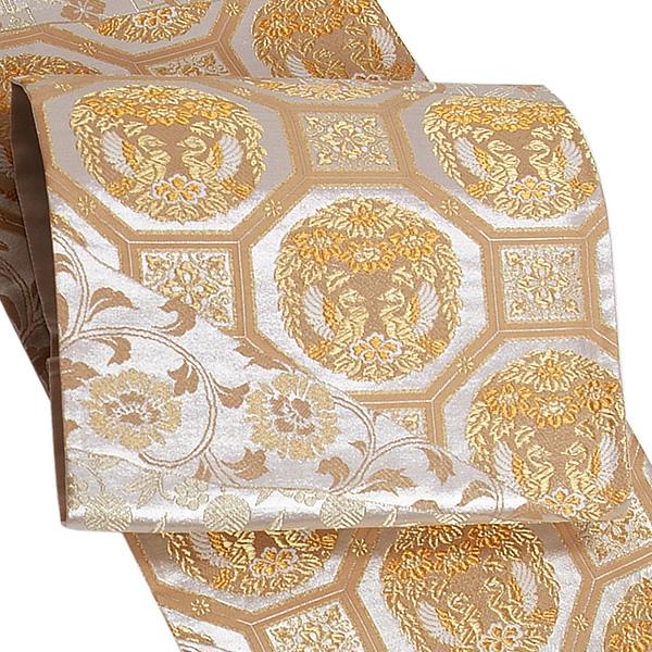 礼装 袋帯 未仕立て「ゴールド 正倉院裂取り文様」浅田叡一謹製 西陣織 日本製 フォーマル <T>【メール便不可】