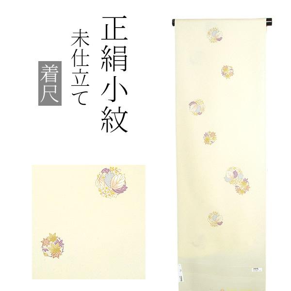 正絹 小紋着尺「薄黄色 楓、桐の丸文」正絹着物 洒落着物 未仕立て <T>【メール便不可】