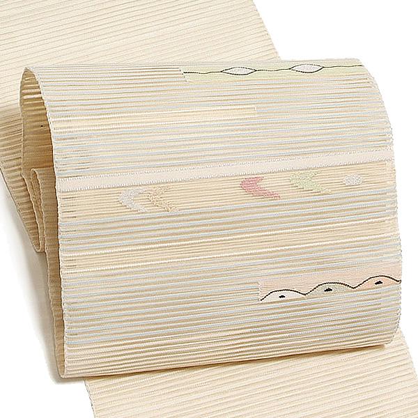 仕立て上がり 名古屋帯「白色×ベージュ 水色霞に幾何学」 絽つづれ 八寸名古屋帯 八寸帯 <T>【メール便不可】