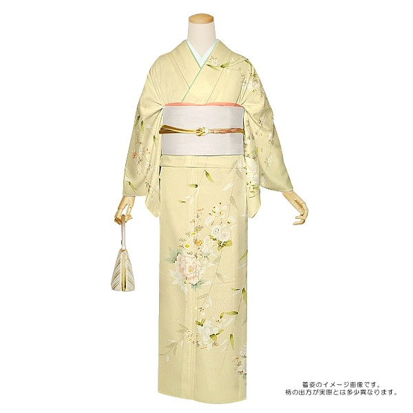 お仕立て上がり 訪問着単品「鳥の子色 枝垂れ桜に花」背伏せ付き 正絹訪問着 正絹着物 絽 <T>【メール便不可】