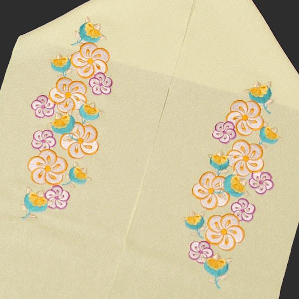 刺繍 半衿「白色 橘と捻じ梅」半襟 結婚式 刺繍衿 前撮り <H>【メール便不可】