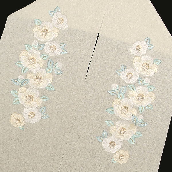 刺繍 半衿「白色 白椿」半襟 結婚式 刺繍衿 前撮り <H>【メール便不可】