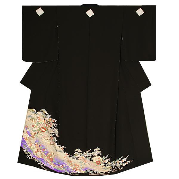 未仕立て 黒留袖単品「誰が袖、雪輪に吉祥草花」ゆとりサイズ フォーマル 正絹黒留袖 <T>【メール便不可】