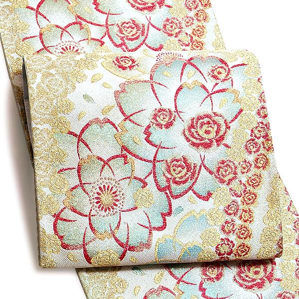 礼装 袋帯 未仕立て「白色 花と薔薇」酒井守謹製 振袖帯 西陣織 日本製 フォーマル <T>【メール便不可】