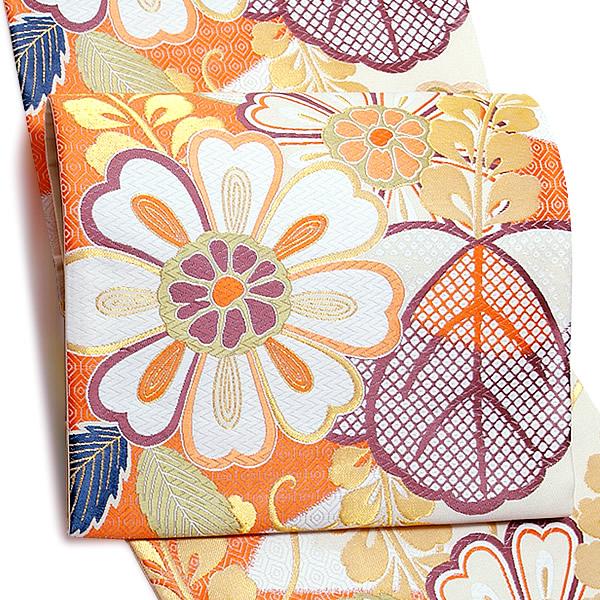 礼装 袋帯 未仕立て「鳥の子色、橙色 桐と藤と菊花」樹謹製 振袖帯 西陣織 日本製 フォーマル <T>【メール便不可】