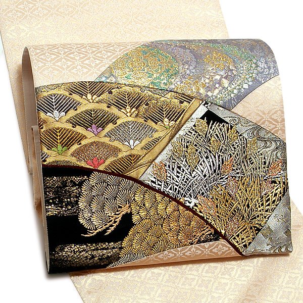 礼装 袋帯 未仕立て「名物裂 切嵌」いづくら(株)謹製 西陣織 日本製 フォーマル <T>【メール便不可】