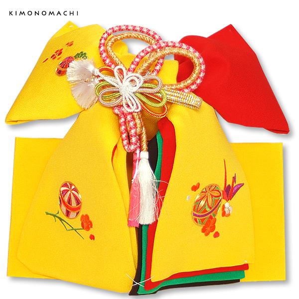 正絹 結び帯単品「黄色 毬と折り鶴刺繍」七五三 二部式帯 付け帯 日本製 753 <H>【メール便不可】