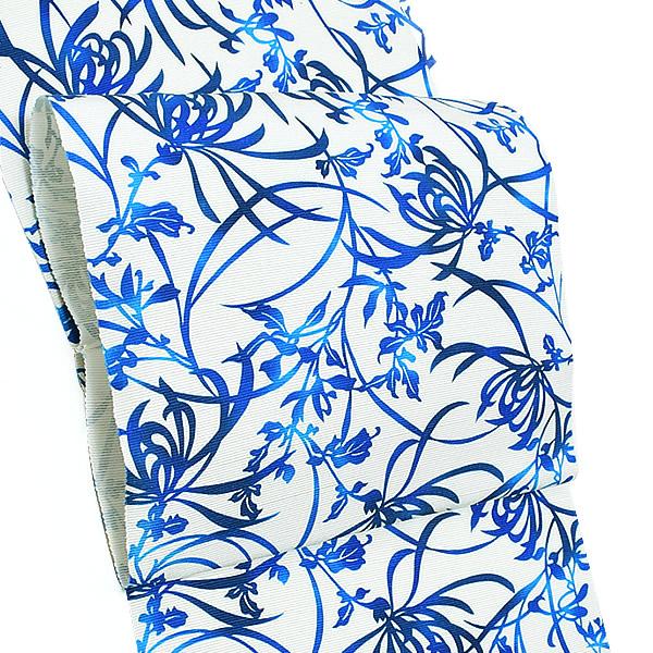 濱まわた紬 九寸帯「ブルー 糸菊」未仕立て 洒落帯 浜つむぎ 小紋、紬、お洒落着に <T>【メール便不可】