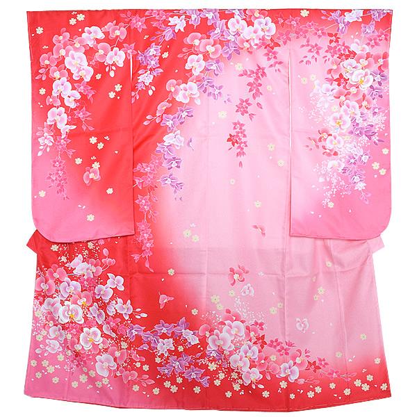 七五三 四つ身着物単品「ピンク×赤色ぼかし 蘭」長襦袢付き 七歳 女の子着物 半衿、重ね衿付き 矢車草 女児 753 <H>【メール便不可】