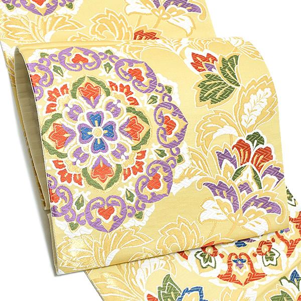 振袖 袋帯「淡黄色 唐花、華文」未仕立て 正絹帯 西陣織 振袖帯 <T>【メール便不可】