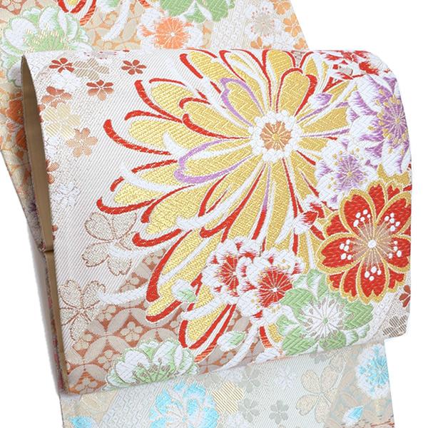 振袖 袋帯「白色 花尽し」未仕立て 正絹帯 西陣織 振袖帯 <T>【メール便不可】