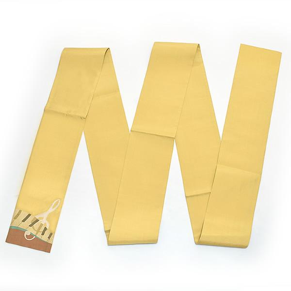 お仕立て上がり 正絹細帯「黄色 音符とピアノ」手織り 半幅帯 正絹帯 洒落帯 【メール便不可】