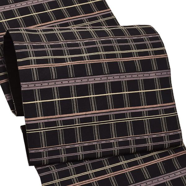 お仕立て上がり 京袋帯「黒色 格子」お仕立て上がり帯 カジュアル帯 名古屋帯 【メール便不可】