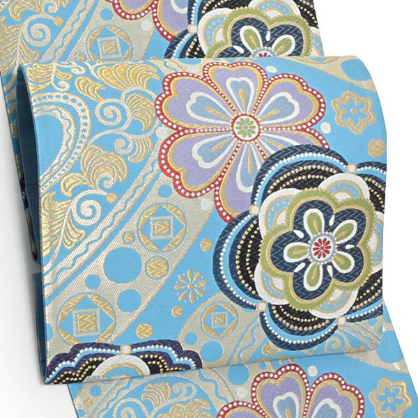 振袖 袋帯「水色 モダン唐草、花文」未仕立て 正絹帯 西陣織 振袖帯 <T>【メール便不可】