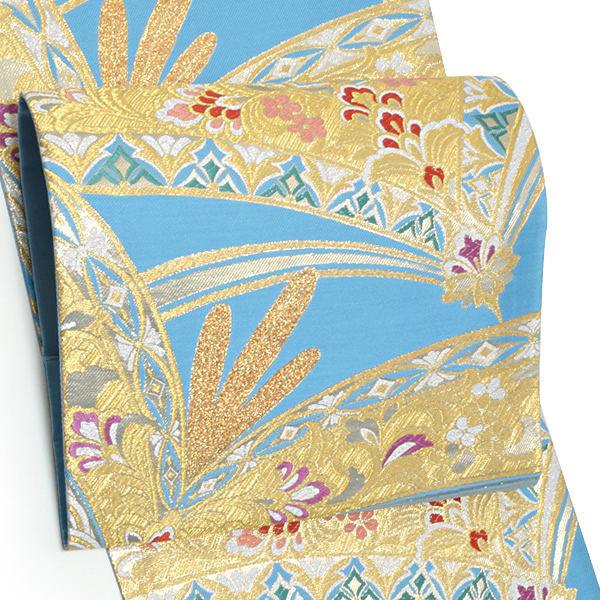 振袖 袋帯「水色 松葉に花更紗」未仕立て 正絹帯 西陣織 振袖帯 <T>【メール便不可】