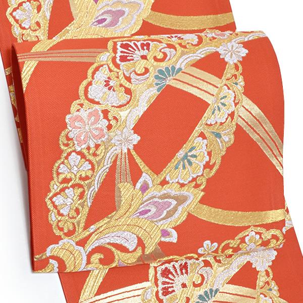 振袖 袋帯「朱赤色 露芝に唐草」未仕立て 正絹帯 西陣織 振袖帯 <T>【メール便不可】