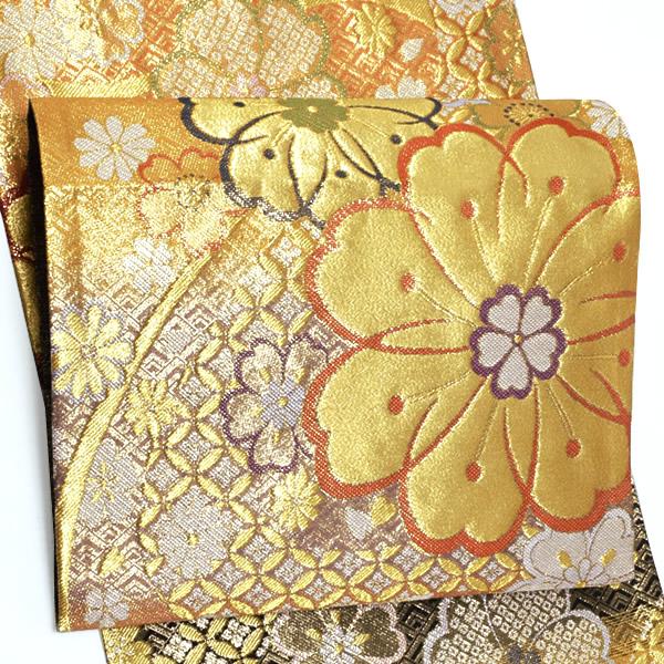 振袖 袋帯「黒×橙×藤鼠色 段ぼかし 流水に花」未仕立て 正絹帯 西陣織 振袖帯 <T>【メール便不可】