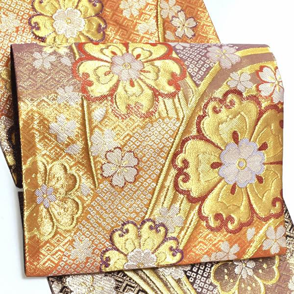 振袖 袋帯「黒×橙×藤鼠色 段ぼかし 滝流れに花文」未仕立て 正絹帯 西陣織 振袖帯 <T>【メール便不可】