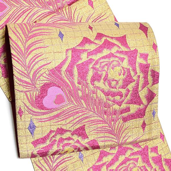 振袖 袋帯「ゴールド 孔雀の羽根、薔薇」未仕立て 正絹帯 西陣織 振袖帯 <T>【メール便不可】