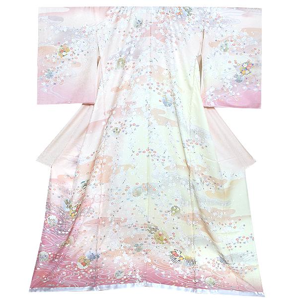 未仕立て 訪問着単品「ピンク 加賀 雪輪しだれ桜」未仕立て 礼装 仮絵羽 フォーマル <T>【メール便不可】