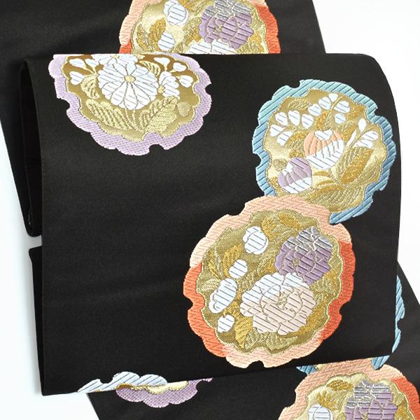 西陣織 袋帯「黒色 雪輪花飾文」未仕立て 正絹帯 礼装帯 フォーマル <T>【メール便不可】