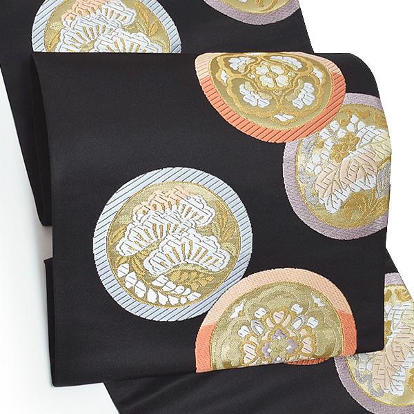 西陣織 袋帯「黒色 瑞祥花丸文」未仕立て 正絹帯 礼装帯 フォーマル <T>【メール便不可】