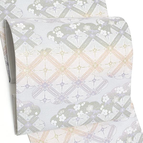 西陣織 袋帯「オフホワイト 雲に松葉格子」未仕立て 正絹帯 礼装帯 フォーマル <T>【メール便不可】