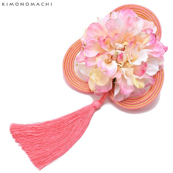髪飾り 振袖 髪飾り 「ピンクぼかしのお花、紐、房飾り」 お花髪飾り 卒業式 袴 髪飾り お花髪飾り 成人式 前撮り ピンク 紐 房飾り 【メール便不可】