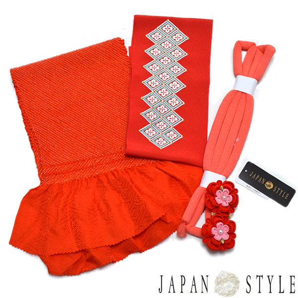 JAPAN STYLE 小物セット「朱赤色絞り帯揚げ、刺繍半衿、丸ぐけ」ハーフ成人式、七五三 桃の節句、お正月に 7歳、10歳のお子様に こども着物 子供 753 【メール便不可】