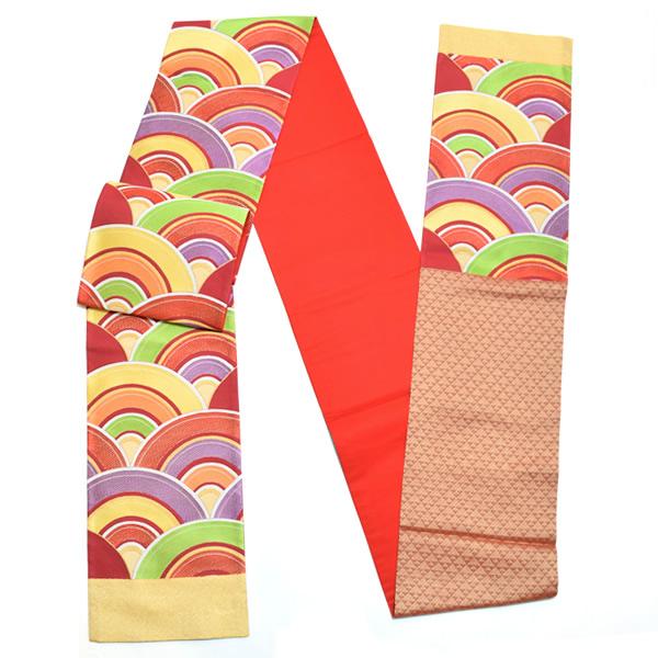 振袖 袋帯 赤色 青海波 未仕立て 正絹帯 西陣織 振袖帯Tメール便不可Yb7f6ygvIm